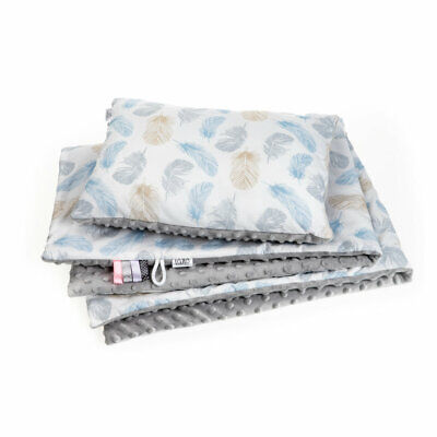 Newborn Blanket Set With Pillow Blue Feathers Minky Large Size