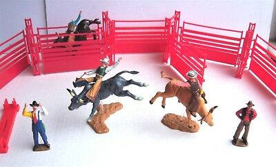 New Ray RODEO Playset BULL Rider Arena FIGURES clown RIDERS western COWBOY