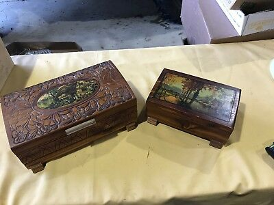 Pair Of Lithographed Small Cedar Chests-Vintage Jewelry Boxes