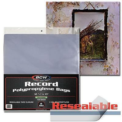 200 BCW Record Sleeves Resealable Plastic Bag Outer 33 RPM LP Covers Album