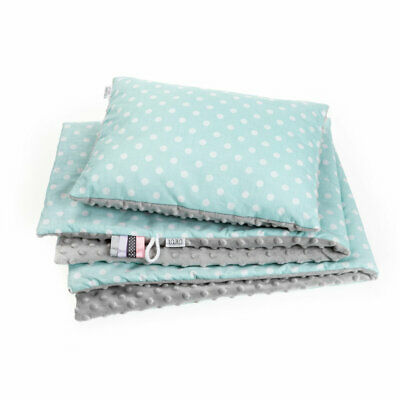 Baby Blanket Baby Soft Pillow Baby Nest 100% Cotton Minky Mint Dotty Set Newborn