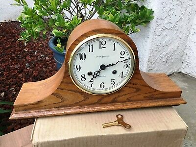 Howard Miller Oak Cased Mantle Clock 613-615  NICE!