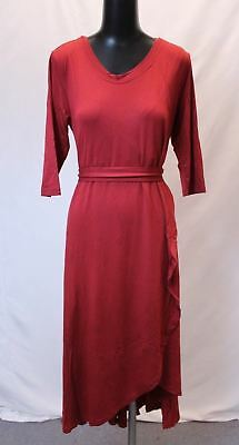 Latched Mama Women's Petal Front Tie Waist Nursing Dress AB3 Carmine Red Large