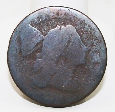 Large 1C One Cent Flowing Hair Unknown Date Liberty Visible