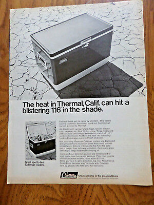 1968 Coleman Camping Ad Coleman Coolers The heat in Thermal California 116