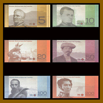 Venezuela 5 - 200 Zamoranos (6 Pcs Set) Local Currency Cojedes Potencia (XF-AU)
