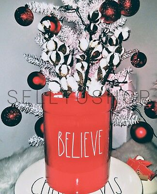 "RAE DUNN Christmas ""BELIEVE"" Red Open Canister Utensil Holder Crock By Magenta"