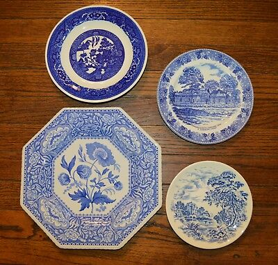 set of 4 Vintage blue and white plates - Spode, Countryside, etc.