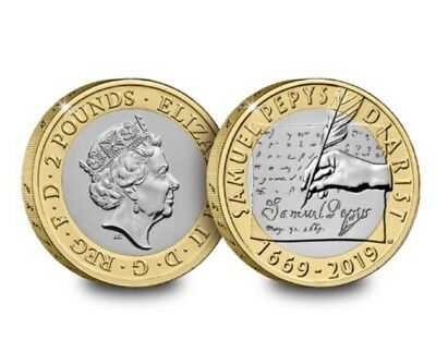 2019 Royal Mint 350th Anniversary of Samuel Pepys Diary £2 Two Pound Coin BU WOW