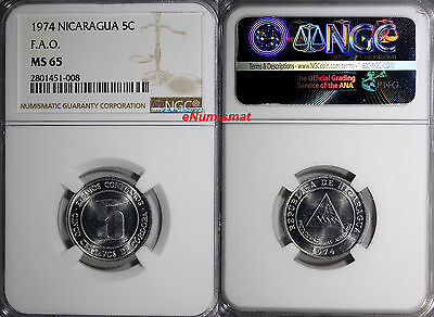 Nicaragua 1974 5 Centavos F.A.O. NGC MS65 1 YEAR TYPE TOP GRADED COIN KM# 28
