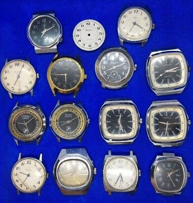 Set of 14 Russian vintage Ussr watch Luch Slava Zim Raketa Pobeda Chaika