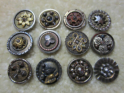 Great Lot Small Antique/ Victorian Steel/ Metal Cup Buttons/ Cut Steels