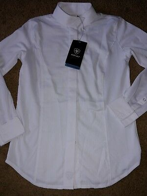 New Ariat Pro Girls 8 Triumph Show Shirt White Long Sleeve Size Small Moist Move
