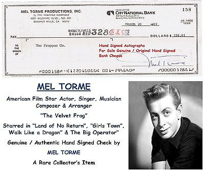 MEL TORME   JAZZ SINGER and  ACTOR    HAND SIGNED BANK CHEQUE   1987   RARE ITEM