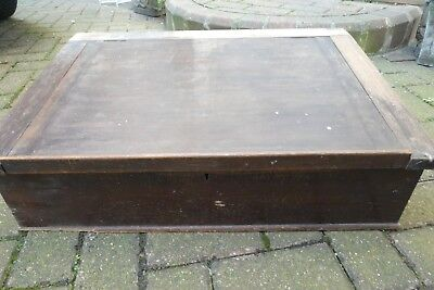 Antique Large Sloping Wooden Hinged Lid Box - Locked