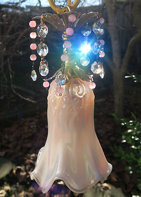 Vintage Fenton Pink opalescent Glass lily valley hanging Swag Lamp brass beaded