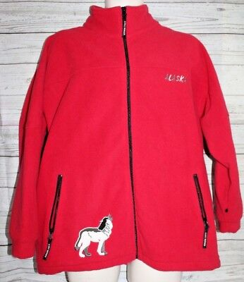 Northern Lights Clothing Co. Alaska Fleece Coat Red with Wolves Size Large Wolf