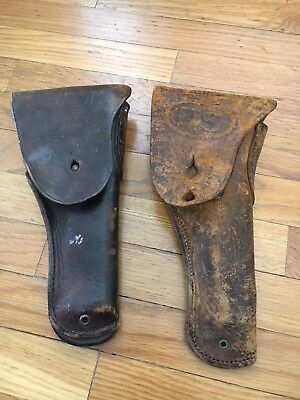 2 Vintage US ARMY COLT 44 LEATHER HOLSTER 1 marked Boyt & 1 Unmarked WW2 WWII