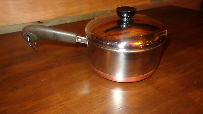 REVERE WARE 2 QT-92e SAUCE PAN W/LID COPPER BOTTOM STAINLESS STEEL CLINTON ILL