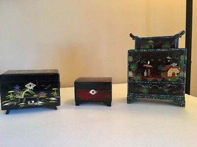 Vintage Japanese Jewelry Boxes Collection - 3; two w/music box
