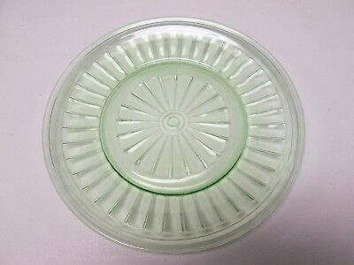 """Green Depression  1/2"""" Glass plate w/ ribbed pattern"""