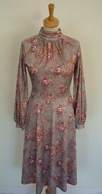 Vintage 60s 70s high neck wide sleeve fit and flare grey floral poly dress, S 10
