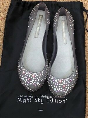 J. Maskrey Melissa Couture Night Sky  Crystals Jelly Ballet Flats Shoes 8