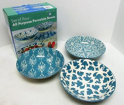 NEW Certified International Floral Pattern All Purpose Porcelain Bowls Set of 4