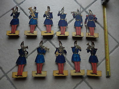 Rare Lot Of 11 Very Old Figures, French Militarys, Toys Around 1860 With Brass
