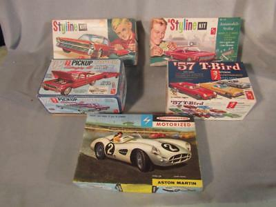 5 Vintage Amt Plastic Models 1960's - Corvair Monza; Ford Galaxie; Chevy Apache