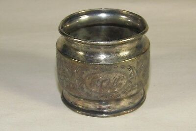 Antique Victorian Napkin Ring,Etched Flower Pattern,Ornate,Silver Plated, Estate