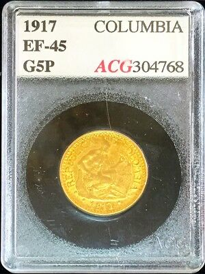 1917 Gold Colombia 5 Pesos 7.9881 Grams Stone Cutter Coin