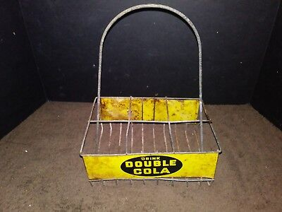 VERY RARE 1930s DOUBLE COLA SODA 6 PACK METAL WIRE CRATE CASE