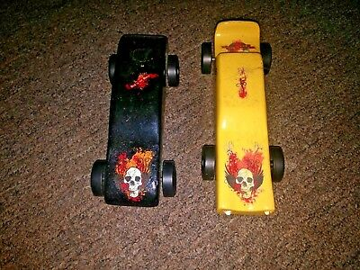 "Lot of 2 Vintage ""Bad To The Bone"" Wooden Pinewood Derby Cars"