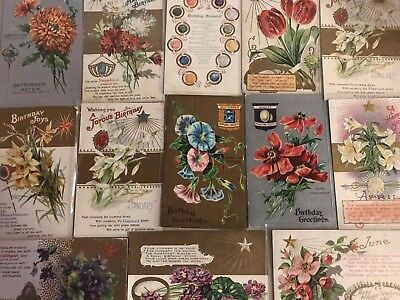 Lot of 15 Vintage Birthday Postcards Months~ Gems-Antique- ~in Sleeves-a603