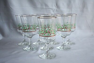 Set Of 8 Vintage 1985 Arby's Christmas Collection Holly Berry Stemmed Glasses