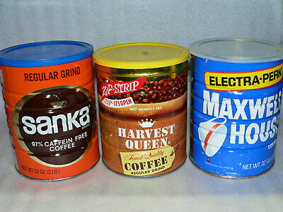 3 Vintage Coffee Tins Can w/Lids Sanka Harvest Queen Maxwell House Kitchen Decor