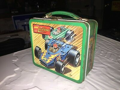 Johnny Lightning Antique Metal Lunchbox. Thermos Included. Pre-1970s.