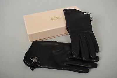 VIVIENNE WESTWOOD Designer Napa Leather Rare Silver Orb Wool Lined Gloves Small