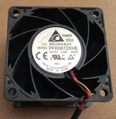 12V dc Axial Fan 60 x 60mm x 38mm 76cfm 27W PFR0612XHE Delta Ball Bearing 4 Wire