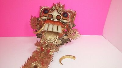 Vintage Antique Wooden Carved Thai Japanese Monster Mask Display