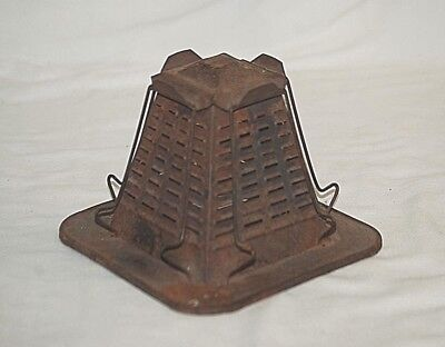 Vintage Antique Primitive 4 Slice Bread Toaster Tin Open Flame Camping Stove a