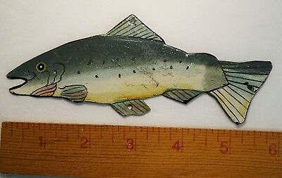 RARE Vintage c 1920s Spearing Ice Fishing Decoy Lure - Trout?  Metal  Folk Art?