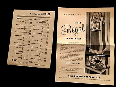 Mills Regal Console and Price List  ORIGINAL