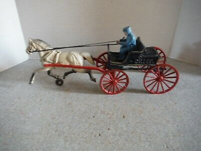 Vintage Toy Cast Iron Horse-Drawn Police Dept. P.D. Chief's Wagon With Driver