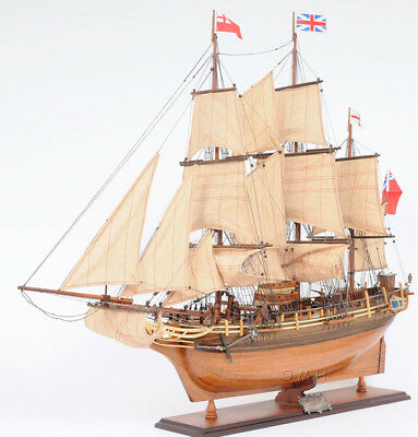 "HMS Bounty Wooden Tall Ship Model Sailboat 37"" Fully Assembled Replica Boat New"
