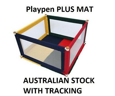 Fabric Square Playpen plus Mat for Baby Kids Toddler Multi coloured