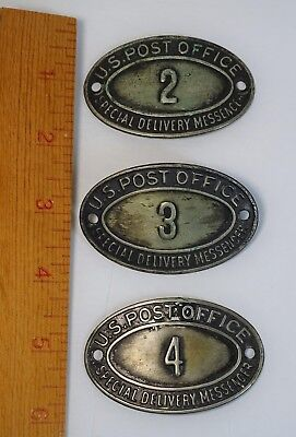RARE - 3 Vintage US Post Office Special Delivery Messenger Cap Badges 1930s