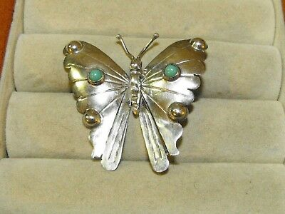 Vintage Taxco FM Southwest Sterling Silver Turquoise Butterfly Moth Pin Brooch !