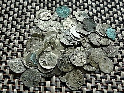 Lot Of 100 Authentic Ottoman Islamic Silver Coins 1 Para Unknown Sultans.